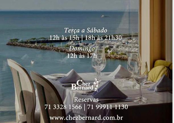 Restaurante Chez Bernard aberto de terça a sábado para lhe do jeito que você gosta