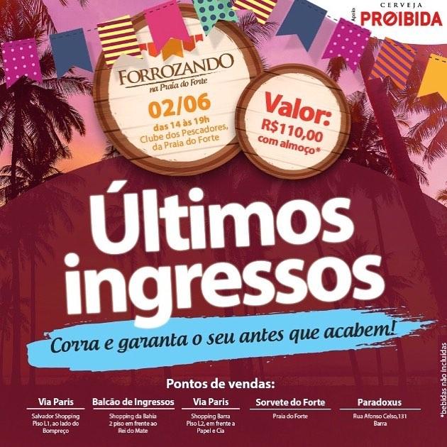 O forrozando organizado pela colunista Janete Freita é a melhor pedida para o dia 2/6 em Praia do Forte