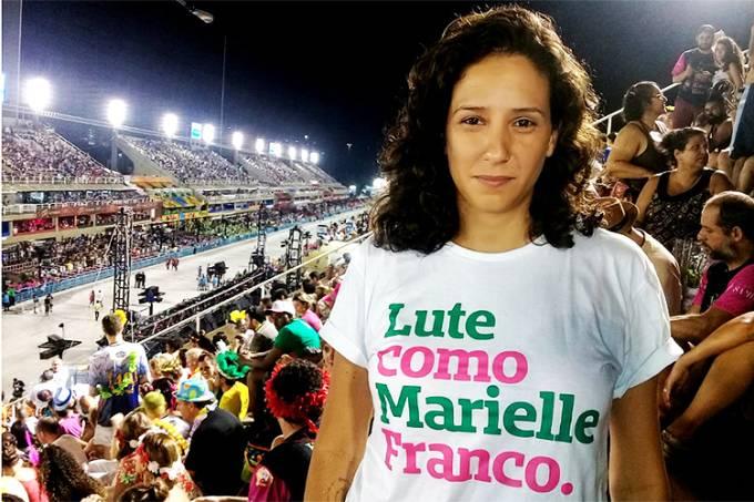 Monica Benício a viúva da Vereadora Marielle Franco na arquibancada da Sambódromo.Ver mais...