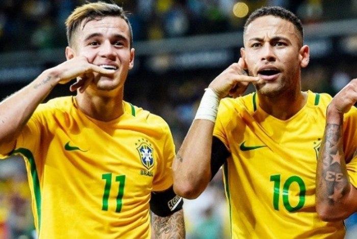 Filipe Coutinho e Neymar Jr fizeram os dois gols da vitória da Seleção Brasileira sobre a Costa Rica hoje