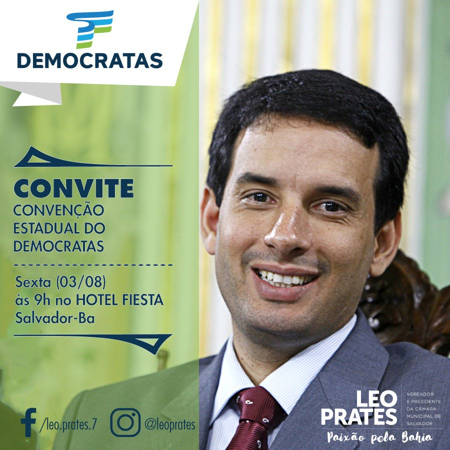 O Vereador Leo Prates convida você para Convenção dos Democratas