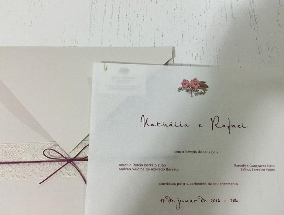 Já está circulando o convite para o casamento de Nathalia Velame e Rafael Gonçalves