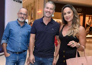 Francisco Filho com a sua sócia Luciana e Gustavo Moreno em fotos de Valterio