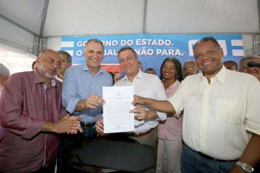 Dep Nelson Pelegrin, Rui Costa e Dep Antonio Brito na inauguração de contenções no Subúrbio Rodoviário de Salvador